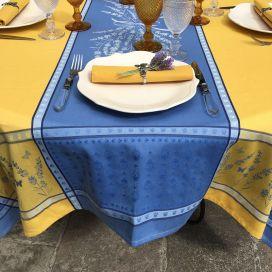 """Square Jacquard tablecloth """"Grignan"""" blue and yellow color, by TISSUS TOSELLI, Nice"""