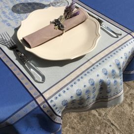 """Square Jacquard tablecloth """"Grignan"""" blue  color, by TISSUS TOSELLI, Nice"""