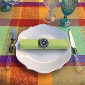 "Rectangular  Jacquard tablecloth, stain resistant ""Maussane"" Orange"