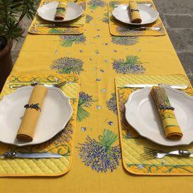 """Nappe provençale rectangulaire placée en coton """"Bouquet de Lavande"""" jaune"""