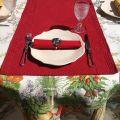 """Chemin de table en Boutis """"Calliope"""" rouge Sud-Etoffe"""