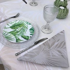 "Rectangular webbed Jacquard tablecloth ""Balata"" naturel, Tissus Toselli"