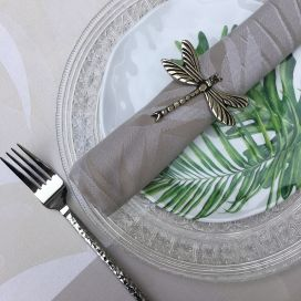 "Jacquard table napkins ""Balata"" naturel by Tissus Toselli"