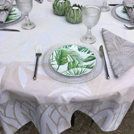 "Square webbed Jacquard tablecloth ""Balata"" naturel, Tissus Toselli"