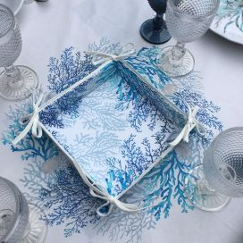 """Coated cotton bread basket with laces """"Lagon"""" blue by Tissus Toselli"""