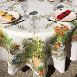 """Tessitura Toscana Telerie, nappe carrée en lin  """"Balcon Potager"""""""""""