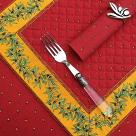 """Bordered quilted placemats """"Olivettes"""" red and yellow, by Tissus Toselli"""