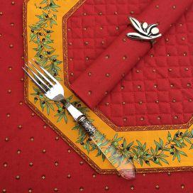 """Set de table octogonal cadré """"Olivettes"""" rouge et jaune, Marat d'Avignon"""
