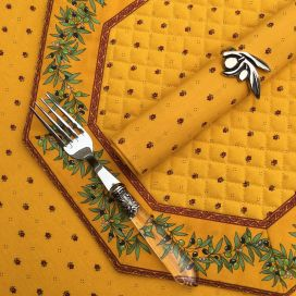 """Octogonal quilted placemats """"Olivettes"""" yellow and red, by Marat d'Avignon"""