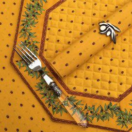 """Set de table octogonal cadré """"Olivettes"""" jaune et rouge, Marat d'Avignon"""