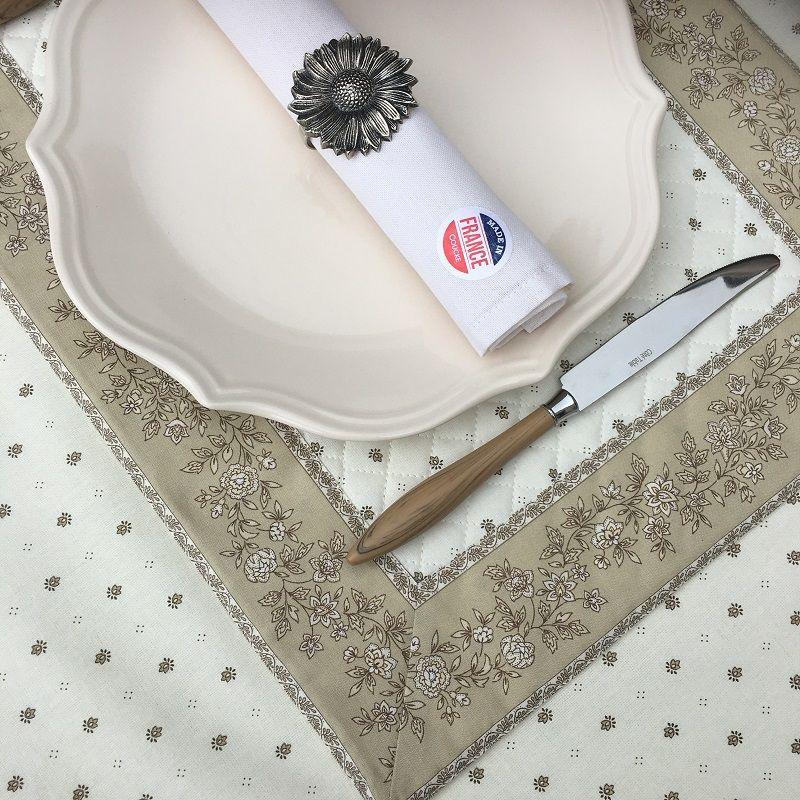 """Set de table matelassé cadré """"Calisson"""" écru et beige"""