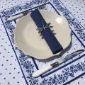 """Set de table matelassé cadré """"Calisson"""" blanc et bleu"""