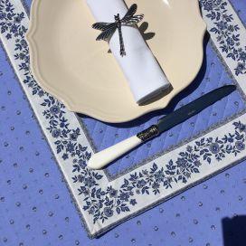 """Set de table matelassé cadré """"Calisson"""" bleu lavande et écru"""