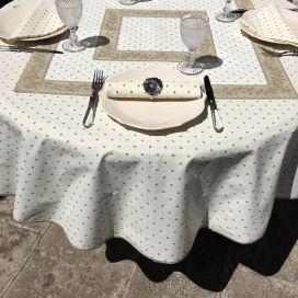"""Nappe provençale ronde en coton """"Calisson"""" écru et beige, Tissus Toselli"""
