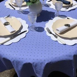 """Round tablecloth in cotton """"Calisson"""" blue lavender and ecru by TISSUS TOSELLI"""