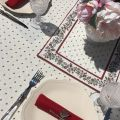"""Rectangular coated cotton tablecloth """"Calissons"""" ecru and red"""
