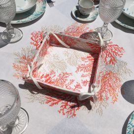 """Coated cotton bread basket with laces """"Lagon"""" corail by Tissus Toselli"""
