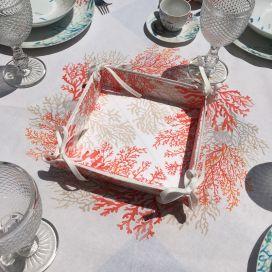 """Panière à lacets en coton enduit """"Lagon"""" corail Tissus Toselli"""