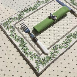 """Set de table matelassé cadré """"Olivettes"""" écru et vert"""