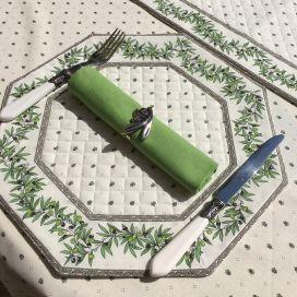 """Set de table octogonal cadré """"Olivettes"""" écru et vert, Marat d'Avignon"""