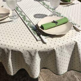 """Nappe provençale ronde en coton """"Calisson"""" écru et vert, Tissus Toselli"""
