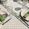 """Coated cotton round tablecloth """"Calisson"""" ecru and green by Tissus Toselli"""