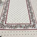 """Quilted cotton table runner """"Calissons"""" ecru and red"""