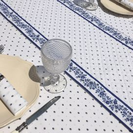 """Quilted cotton table runner """"Calissons"""" white and red"""