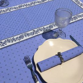 """Quilted cotton table runner """"Calissons"""" blue lavender and ecru"""