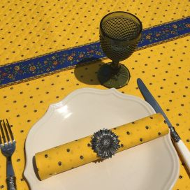 """Quilted cotton table runner """"Calissons"""" yellow and blue"""