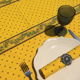 """Quilted cotton table runner """"Olivettes"""" yellow and blue"""