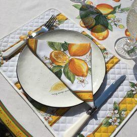 "Cotton napkins ""Lemons"" ecru and yellow"