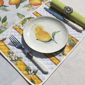 """Set de table en coton matelassé """"Citrons"""" écru et jaune"""