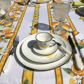 """Rectangular provence cotton tablecloth """"Citrons"""" ecru and yellow from Tissus Toselli in Nice"""