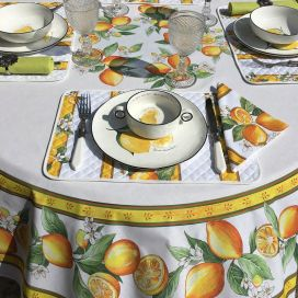 """Round tablecloth in cotton """"Lemons"""" ecru and yellow by Tissus Toselli"""