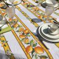 "Rectangular coated cotton tablecloth ""Lemons"" ecru and yellow"
