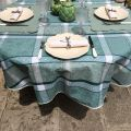 """Round coated Jacquard tablecloth, stain resistant Teflon """"Maussanne"""" sage green"""