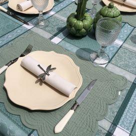 "Rectangular table mats, Boutis fashion ""Sage green"" color by Côté-Table"