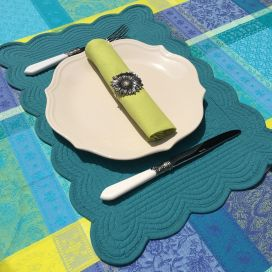"Rectangular table mats, Boutis fashion ""Turquoise"" color by Côté-Table"