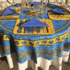"""Nappe provençale ronde en coton enduit """"Tradition"""" Bleue et jaune """"Marat d'Avignon"""""""