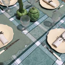 "Rectangular Jacquard tablecloth, stain resistant Teflon ""Maussanne"" sage green"