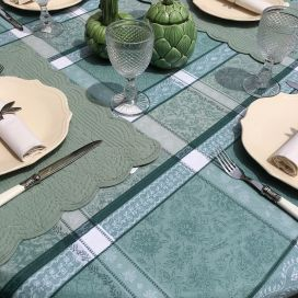 """Rectangular coated Jacquard tablecloth, stain resistant Teflon """"Maussanne"""" sage green"""