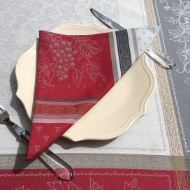 """Jacquard table napkins """"Coteaux"""" red and grey by Tissus Toselli"""