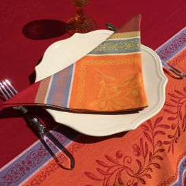 """Jacquard table napkins """"Olivia"""" orange and red  by Tissus Toselli"""