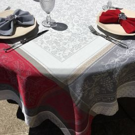 """Square Jacquard tablecloth """"Coteaux"""" grey and red by Tissus Toselli"""