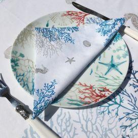 """Serviette en coton """"Lagon"""" bleu et turquoise"""