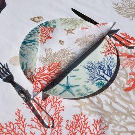 "Cotton table napkins ""Lagon"" corail and orange"