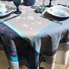 "Nappe rectangulaire Jacquard ""Oceane"" bleu Tissus Toselli"