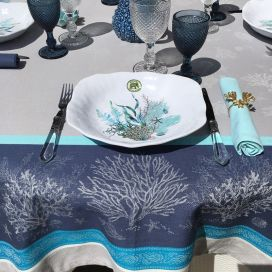 """Square Jacquard tablecloth """"Oceane"""" blue by Tissus Toselli"""
