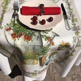 """Chemin de table en lin """"Balcon Potager"""" Tessitura Toscana Telerie"""